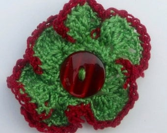 Crochet Flower Brooch Vintage Green Yarn with Red Detail and Red Button