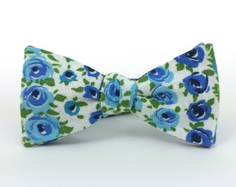 Blue Roses Freestyle Bow Tie / adjustable 15 - 19 inches