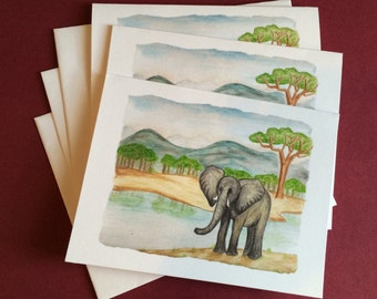 Elephant Note Cards - Set of 3 - Mozambique - All Occasion Blank Card