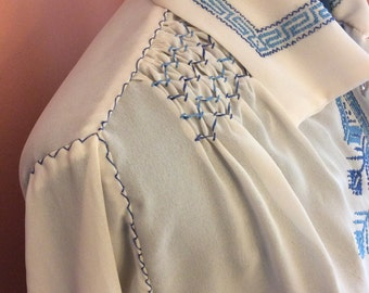 Vintage Hand Embroidered Chiffon Blouse (A463)