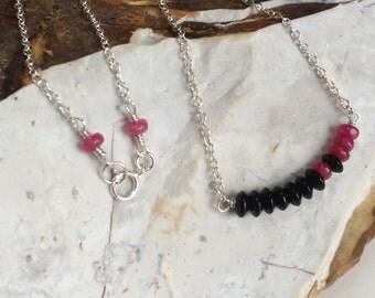 Minimalist Sterling Silver Necklace, Fuschia Pink Jade, Black Jet Stone