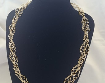 Gold Crochet Double Stranded Wire Necklace