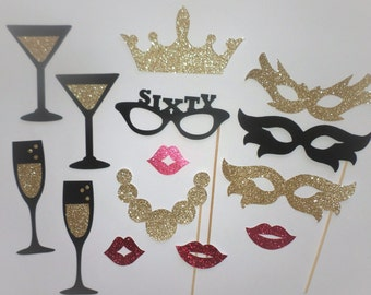 Fabulous 60 Sixtieth Birthday Party Forty Photo booth props Birthday party Birthday props Photobooth Party 60th birthday