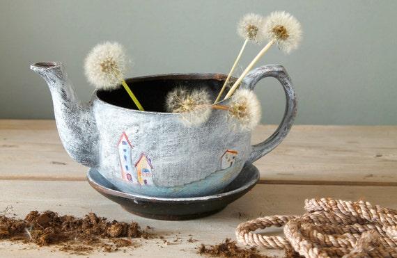 Ceramic Fairy Planter Handmade Sculpture Design By GardenTale
