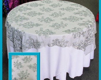 Grey Guipure 2197 Table Overlay Wedding and Party Supplies 54 X 54 Inches Wide