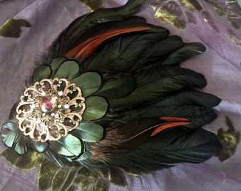 Feather Hair Clip, Bejweled Fascinator, Edwardian or Victorian Hair Accessory
