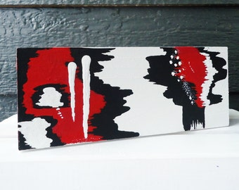 Red, White, and Black Hand-Painted Keepsake Box