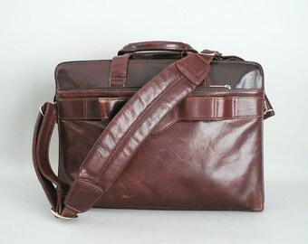 Oxblood Leather Briefcase Messenger Bag