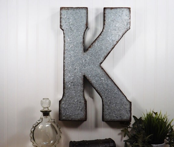 Large Metal Letters For Wall Decor : Items similar to large metal letter inch