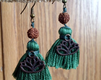 Green Lotus Earrings