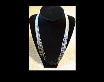 Handmade 6 strand Black-silver-clear-white ombre seed bead necklace w/Swarovski elements & magnetic clasp
