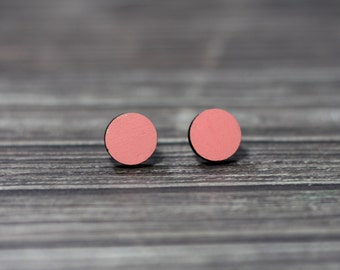 Hand Painted Salmon Wooden stud earrings/ salmon studs earrings/ cute earrings/ gifts for her