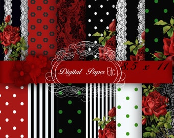 Red and Black Digital Papers, Red and Black Digital Background, Red and Black Printable Paper Pack, Instant Download  8.5 x 11 Paper No 96S.
