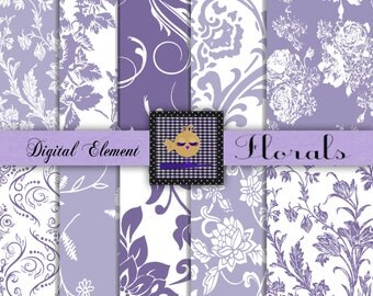 Digital Scrapbook Paper, Lilac Digital Scrapbook Paper, Lavender Floral Paper, Lavender and White Scrapbook Paper. No. 101.DA