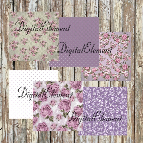Digital Paper, Digital Scrapbook Paper, Floral Lilac