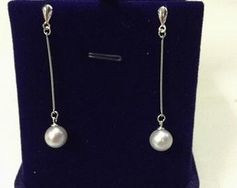 7.5mm Silver Pearl Earrings