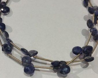 Iolite Faceted Heart Shape briolettes  6mm size , length 9""