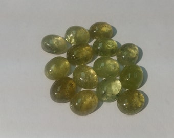 9x11mm Green Grossular Garnet smooth Cabochons, Good Quality Cabs, pack of  4 Pc.