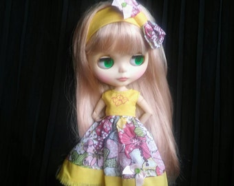 Yellow and flower pattern,handmade, dress with headband for Blythe doll