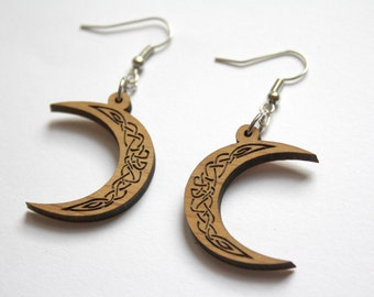 Wood celtic earrings, new moon, interlace earring, scandinavian medieval art inspiration jewel, ornamental knotwork jewelry, made in France