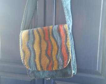 100% Wool cross body bag by Rising Tide. Fully lines with a zippered pocket inside.