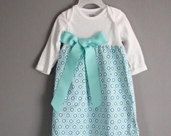 Onesie Dress Easter Baby dress Toddler Aqua