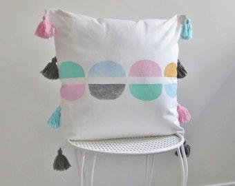 Throw Pillow, Tassels, Pastel,Pink,Yellow,Mint Green,Blue White, Block Printed, Scandi style, Minamalist, Boho decor, Babys Room