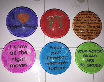 Physical Therapist glass magnets 1 inch (25mm) set of 6.