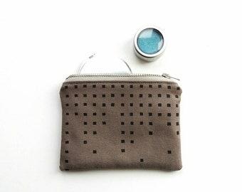 Cotton coin purse / hand printed small zipper pouch / handbag organizer