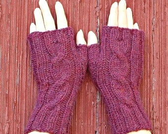 berry pink alpaca fingerless gloves, knitted wrist warmer, knit cabled mitts, cabled gloves, alpaca fingerless mitts hand made in usa /Ready