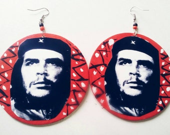 Red and black Che Guevara earrings