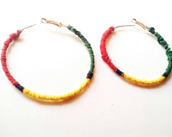 Rasta hoop earrings
