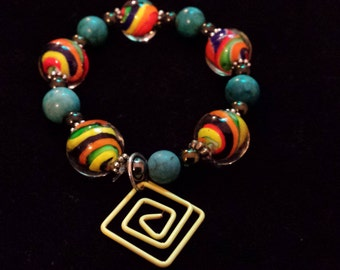 Glass Beaded Swirl Bracelet