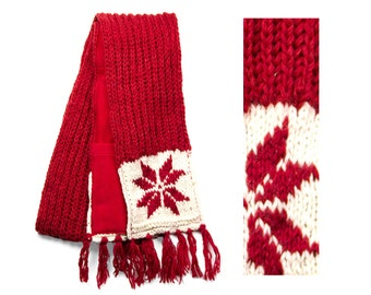 Wool Scarf, Hand Knit Wool Scarf, Winter Scarf - Red Snowflake - 2610R