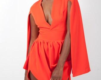 Cape Sleeve Orange Dress