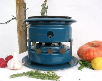 Dutch stove ~ Outdoor stove ~ Paraffine stove ~ Kerosene stove ~ Teal enamel ~ 3 wick ~ 5 pcs ~ Dutch petroleum stove ~Slow cooker ~ Rechaud