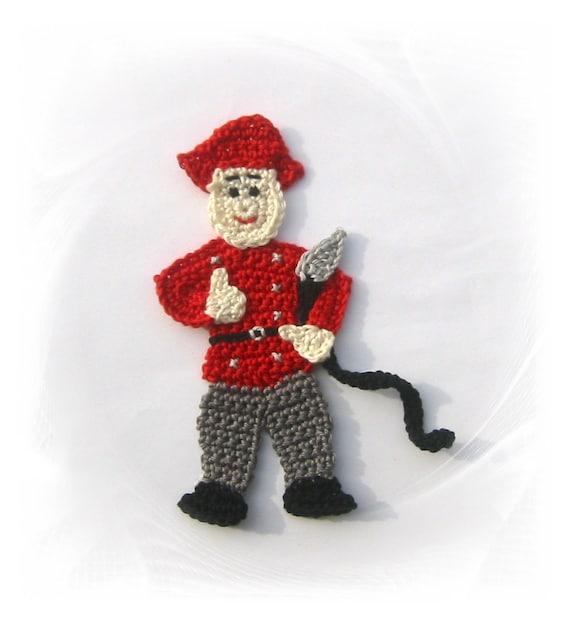 Firefighter fireman applique application patches crochet crochet