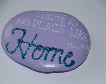"Sparkling pebble ""There is no place like home"" gift wedding birthday engagement retirement baptism first communion home decor"