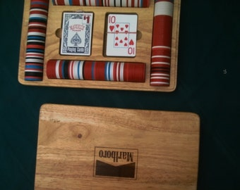 Marlboro Poker Set Oak Wooden Case 2 Decks Cards  240 Poker Chips