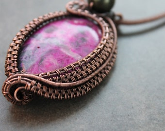 PDF Tutorial, wire weave pendant using a Sugilite focal cabochon, wire weave pattern, pendant tutorial