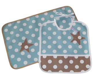 Placemat - SWEET STAR - (oilcloth) and bib Kit