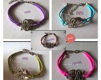 Bracelet leather doeskin, bracelet silver, owl is happiness, jewel aromatherapy, bracelet minimalist, zen, Reiki, man, woman