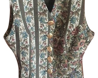DOLCE&GABBANA size 6 Euro size 40, vest, vintage, gold buttons, 80's, 90's, needlepoint, green, floral, authentic, vintage