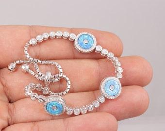 Turkish Handmade Jewelry  3 Evil Eye 925 Sterling Silver Opal Tennis Bracelet