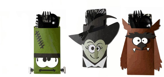 3D Halloween Monster Treat Bags/ Pouches - Silhouette Studio Cut Files - Layered Images with Instructions for Silhouette Cutting Machines