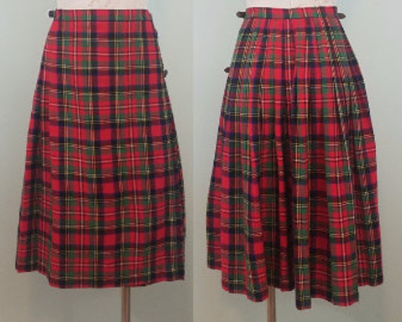 1960s Aston Kilt / Vintage Royal Stewart Tartan Skirt / Red, Green, Blue, Yellow Wool Flannel Midi / Modern Size Small S to Medium M