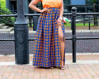 ankara skirt, gathered skirt, thigh high slit, long skirt, skirt, retro skirt