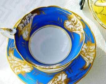 Royal Stafford English,blue and gold bone china tea cup set