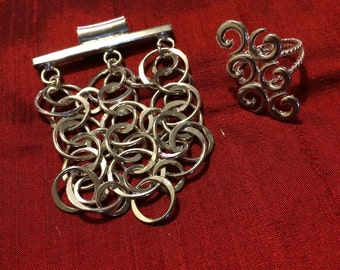 925 Silver Jewelry Set, matching pendant and ring