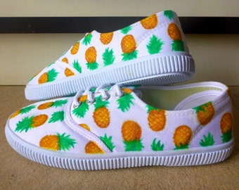 Pineapple Hand Painted Custom Designed Sneakers (Vans/Keds style)